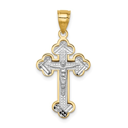 14k Two-tone Gold Budded Crucifix Pendant 3/4in