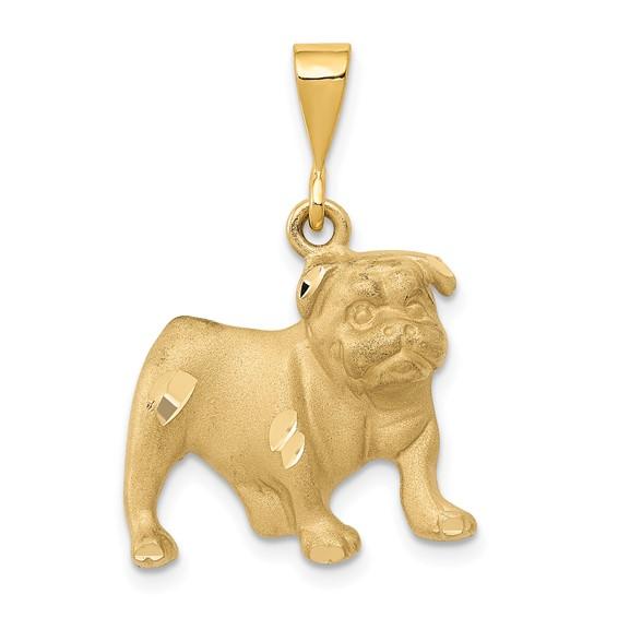 14kt Yellow Gold 5/8in Bulldog Pendant