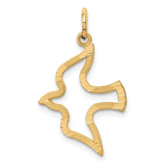 14kt Yellow Gold 3/4in Satin and Diamond-Cut Dove Charm