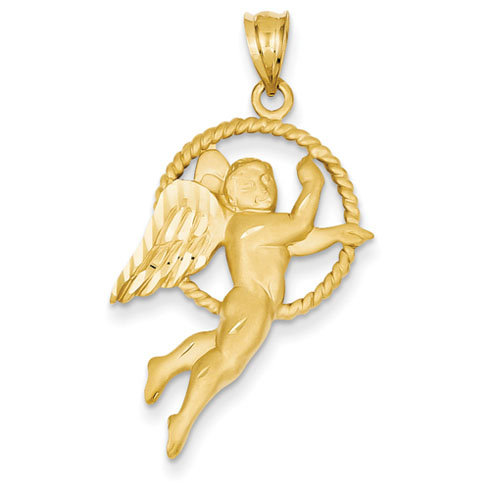 14kt 1 1/8in Satin & Diamond-cut Angel Pendant
