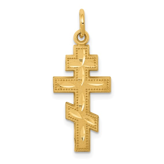 14kt Yellow Gold 3/4in Dotted Eastern Orthodox Cross