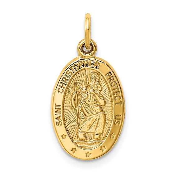14kt Yellow Gold 5/8in Oval Saint Christopher Medal Charm