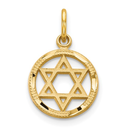 14kt Gold 7/16in Solid Polished Star of David Charm