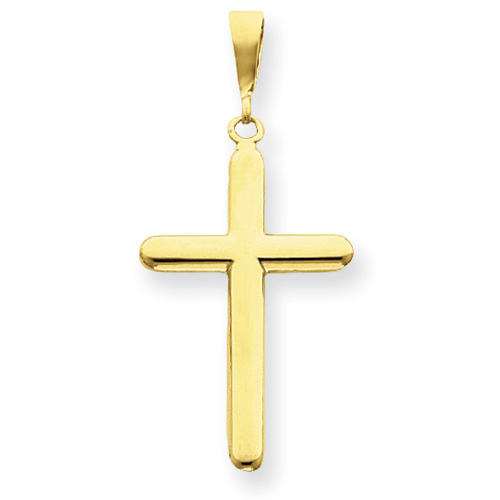 14kt 1 1/4in Polished Cross Pendant