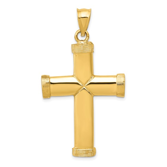 14kt Yellow Gold 1 3/8in Polished Latin Cross Pendant