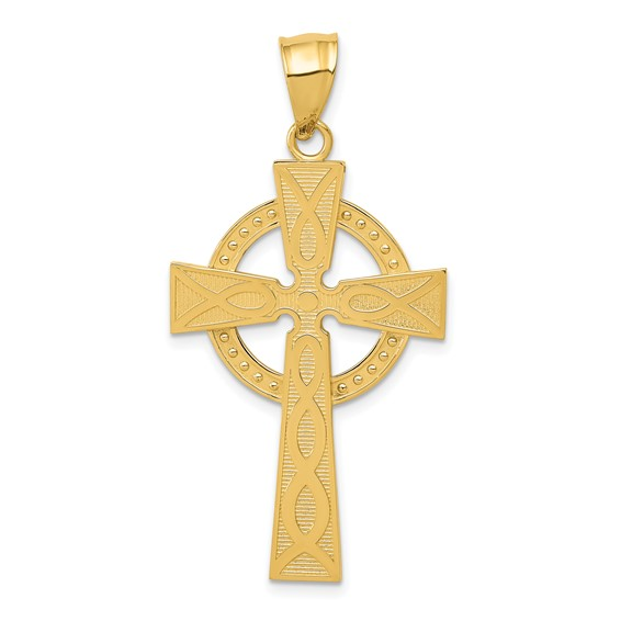 14k Yellow Gold 1 3/8in Polished Celtic Cross Pendant