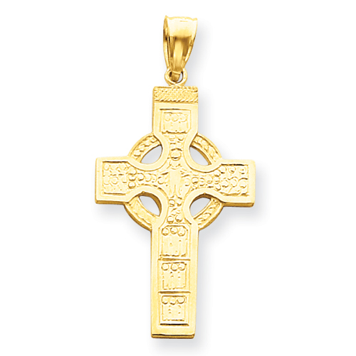 14kt Yellow Gold 1 3/8in Celtic Cross Pendant