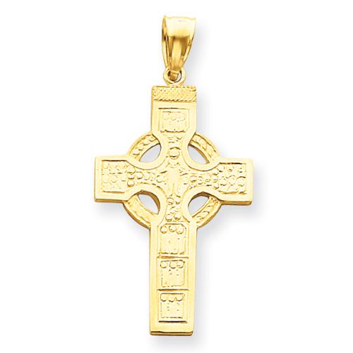 14k Yellow Gold Celtic Cross Pendant 1 3/8in