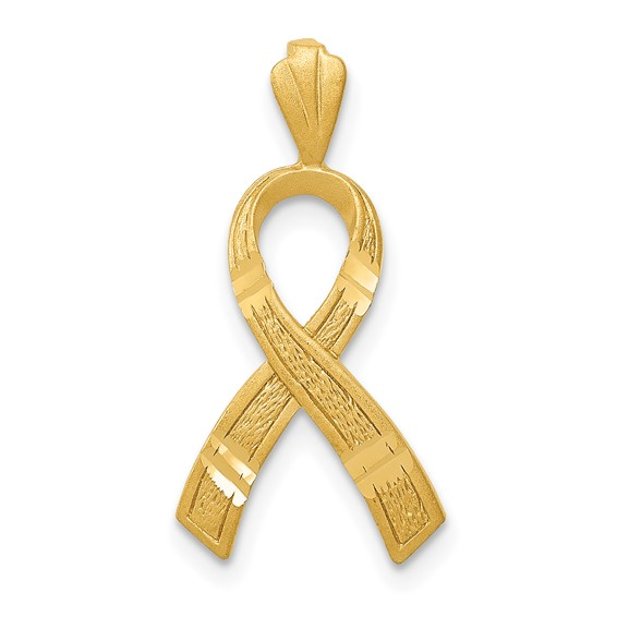 14kt Yellow Gold 5/8in Diamond-cut Cancer Awareness Ribbon Pendant