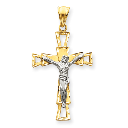 14kt Two-tone 1 7/8in Crucifix Pendant