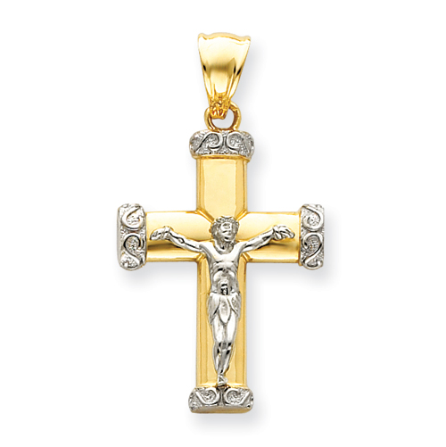 14k Two-tone Gold Crucifix Pendant with Scroll Tips 1 3/8in
