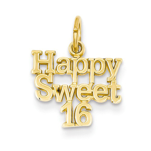 14kt Yellow Gold 1/2in Happy Sweet 16 Charm