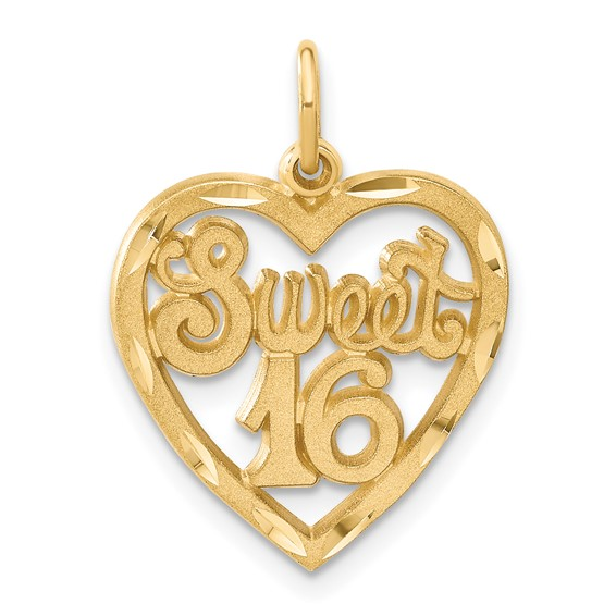 14kt Yellow Gold 5/8in Heart Sweet 16 Charm