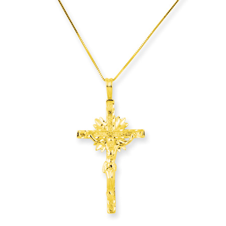 14kt Yellow Gold 1 1/2in Crucifix on 18in Necklace