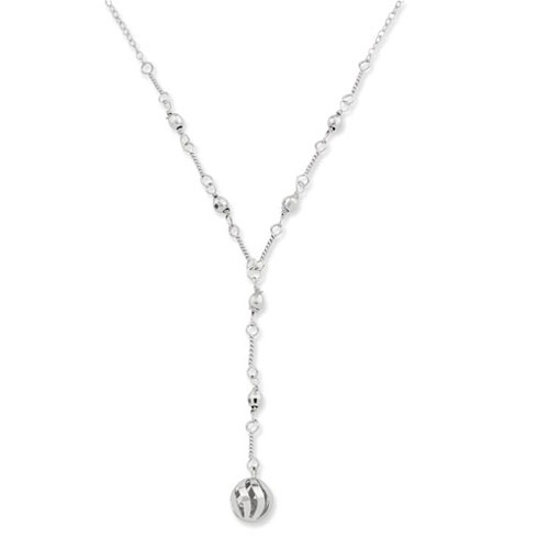10kt White Gold Beaded Drop 17in Necklace