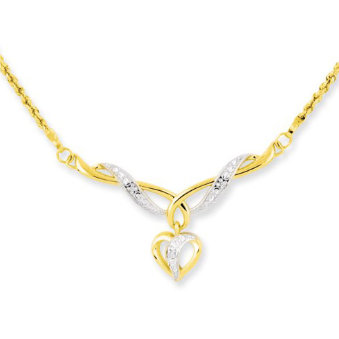14kt Two-tone Gold Dangle Heart Charm on 17in Rope Chain