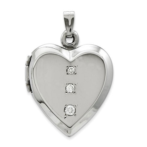 14kt White Gold 3/4in Heart Locket with Three CZs