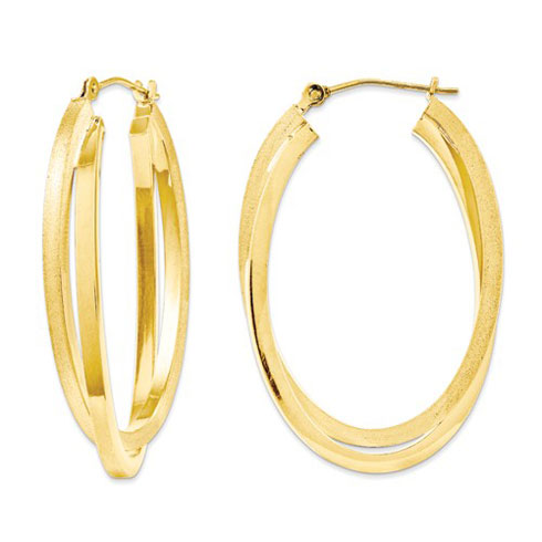14kt Yellow Gold 1 1/4in Satin and Polished Double Oval Hoop Earrings