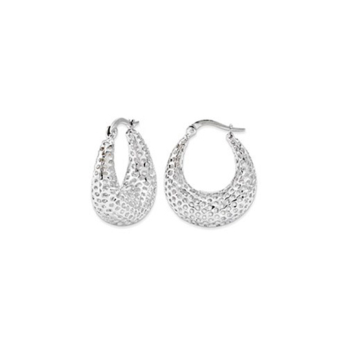 14kt White Gold 7/8in Mesh Oval Hoop Earrings