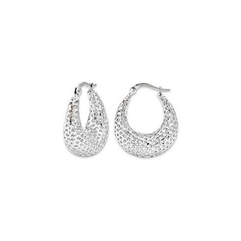 14kt White Gold 7/8in Mesh Oval Hoop Earrings