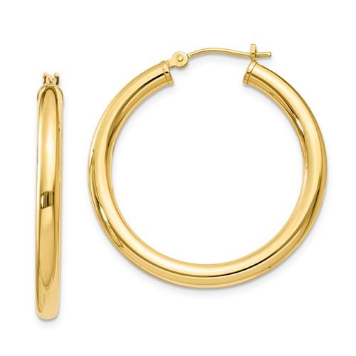 1 1/8in Round Hoop Earrings 14k Yellow Gold