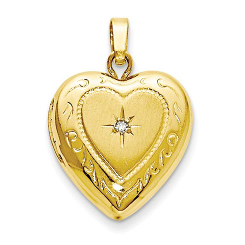 14kt Yellow Gold 1/2in Heart Locket with Diamond Accent