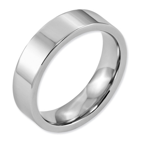 Cobalt 6mm Flat Polished Wedding Band