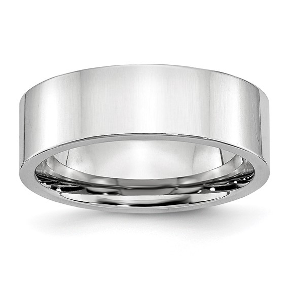 7mm Flat Cobalt Polished Band