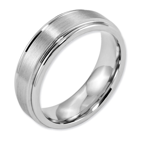 Cobalt 7mm Satin Wedding Band with Grooved Edges