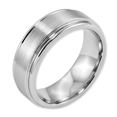 8mm Cobalt Satin Band with Grooved Edges