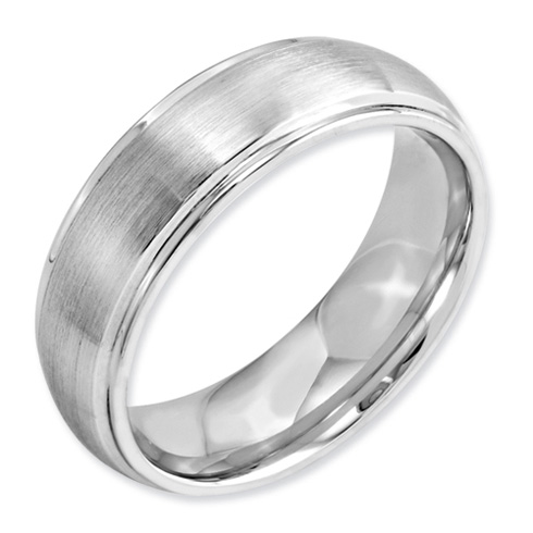 7mm Cobalt Domed Satin Band with Grooved Edges