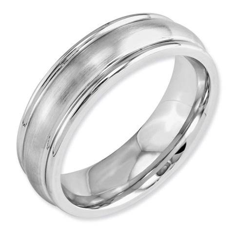 Cobalt 7mm Satin Wedding Band with Rounded Edges