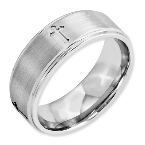 Cobalt 8mm Satin Wedding Band with Crosses