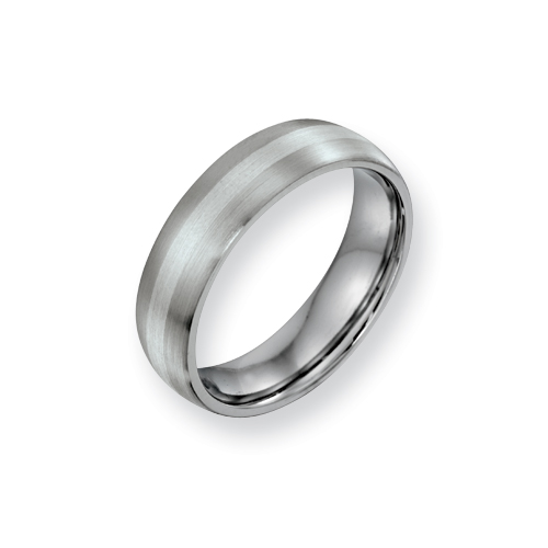 Cobalt 6mm Satin Wedding Band with Sterling Silver Inlay