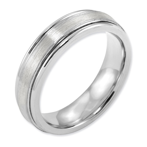 6mm Cobalt Satin Band with Sterling Silver Inlay and Grooved Edges