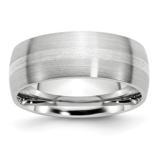 Cobalt 8mm Satin Wedding Band with Sterling Silver Inlay