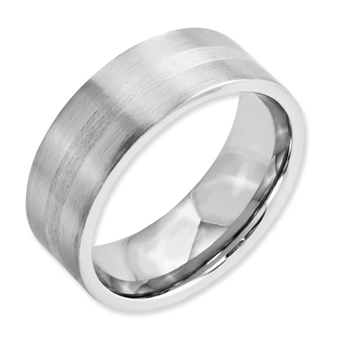 Cobalt 8mm Flat Satin Wedding Band with Sterling Silver Inlay