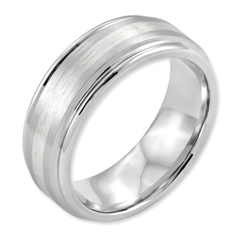 Cobalt 8mm Satin Wedding Band with Sterling Silver Inlay and Grooved Edges