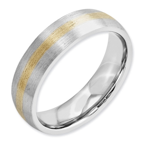 6mm Cobalt Satin Wedding Band with 14kt Gold Inlay