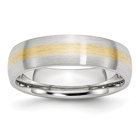 6mm Cobalt Satin Wedding Band with 14kt Gold Inlay