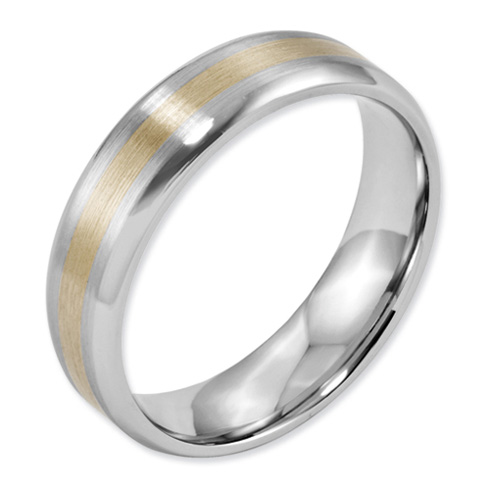 6mm Cobalt Satin Band with 14kt Gold Inlay and Polished Edges