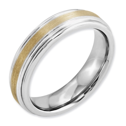 Cobalt 6mm Satin Wedding Band with 14kt Gold Inlay and Grooved Edges