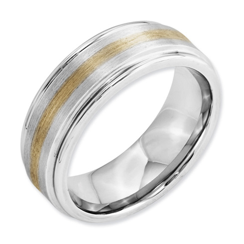 8mm Cobalt Satin Band with 14kt Gold Inlay and Grooved Edges