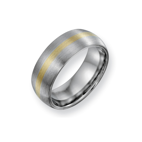 8mm Cobalt Satin Band with 14kt Gold Inlay