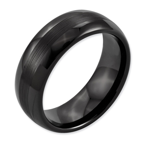 Black Ceramic 8mm Ring with Brushed Center