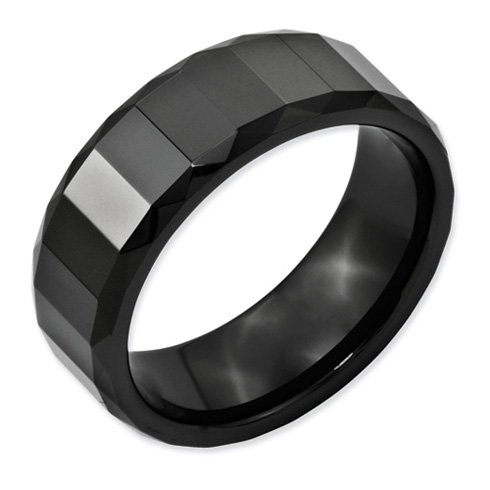 Black Ceramic 8mm Ring with Facets and Beveled Edges