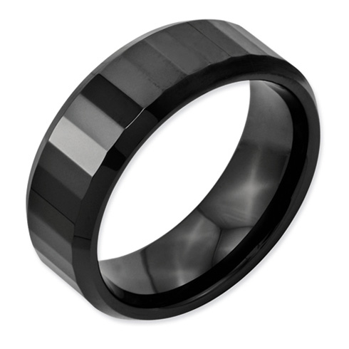 8mm Ceramic Ring with Thin Facets and Beveled Edges