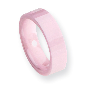 6mm Pink Ceramic Ring with Thin Facets