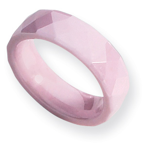 Pink Ceramic 6mm Ring with Facets