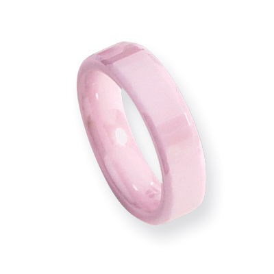 Pink Ceramic 5.5mm Faceted Ring with Beveled Edges